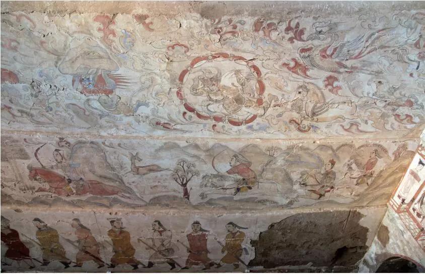 ▲墓道西壁壁画局部