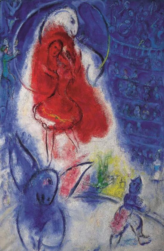 马克·夏加尔(Marc Chagall)《马戏团-女骑手》   款识:画家签名 Marc Chagall   并纪年1957(右下)   油彩画布   150.8 x 99.7 公分
