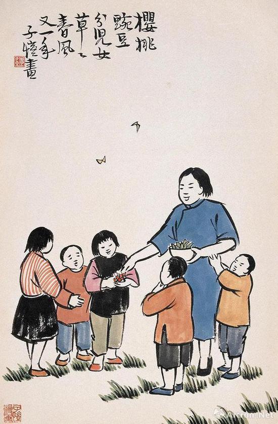 丰子恺 《古诗新画》之:樱桃豌豆分儿女,草草春风又一年