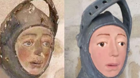 修复前以及修复后的圣乔治雕像脸部。