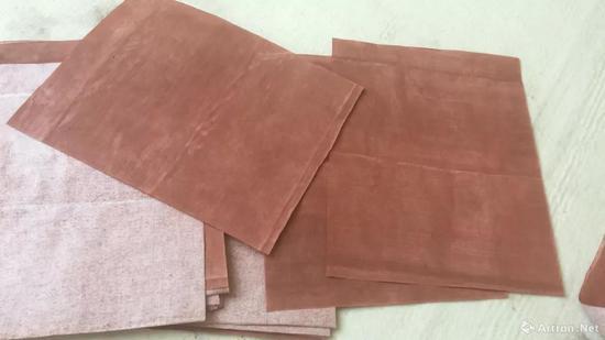 自制土红色念纸