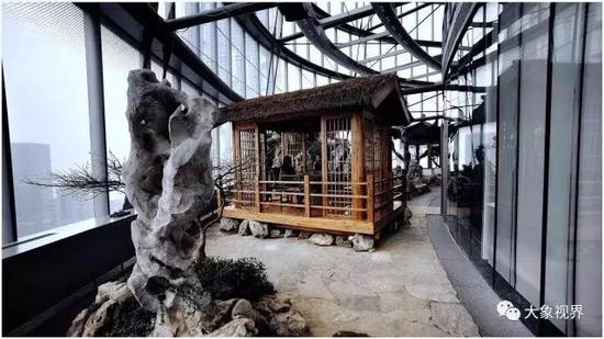位于上海陆家嘴第一高楼37层的宝库空中花园和茶室
