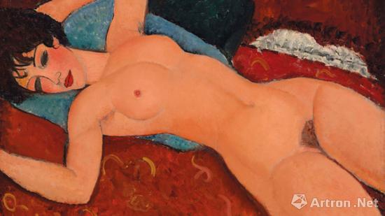 图13 意大利画家亚美迪欧·莫迪瑞安尼(1884~1920)《侧卧的裸女》油画(2015年纽约佳士得以1.7亿美元成交)