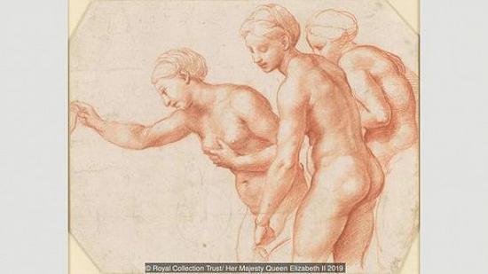 拉斐尔,《美惠三女神》(The Three Graces),约绘制于1517-1518年