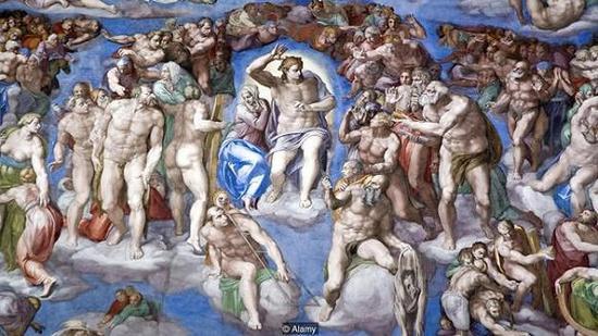 米开朗基罗去世后,西斯廷教堂用布遮住了画中裸露的生殖器官