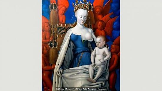 《被炽天使和智天使守护的圣母玛利亚》(Madonna surrounded by Seraphim and Cherubim),让·富凯,1452年