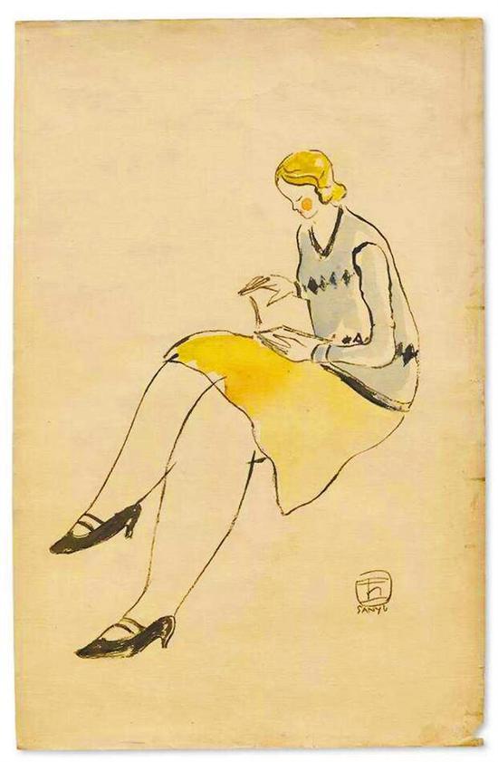 ▲常玉绘于上世纪二三十年代作品《阅读中的黄裙女士》。