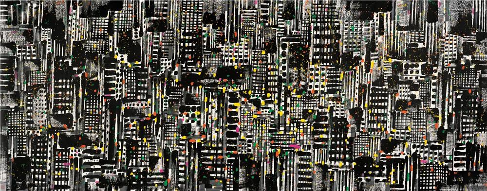 都市之夜 1997年 吴冠中 145×368厘米 纸本水墨设色 中国美术馆藏