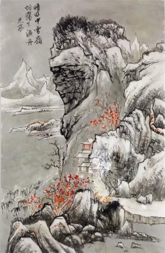 邵光亭先生作品《雪岭烟霭图》,纸本,设色