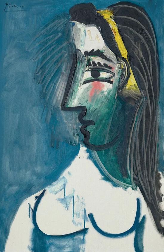 巴布罗·毕加索《裸女半身像(侧面)》,油彩 画布,1963年5月15日作 成交价:661.25万美元