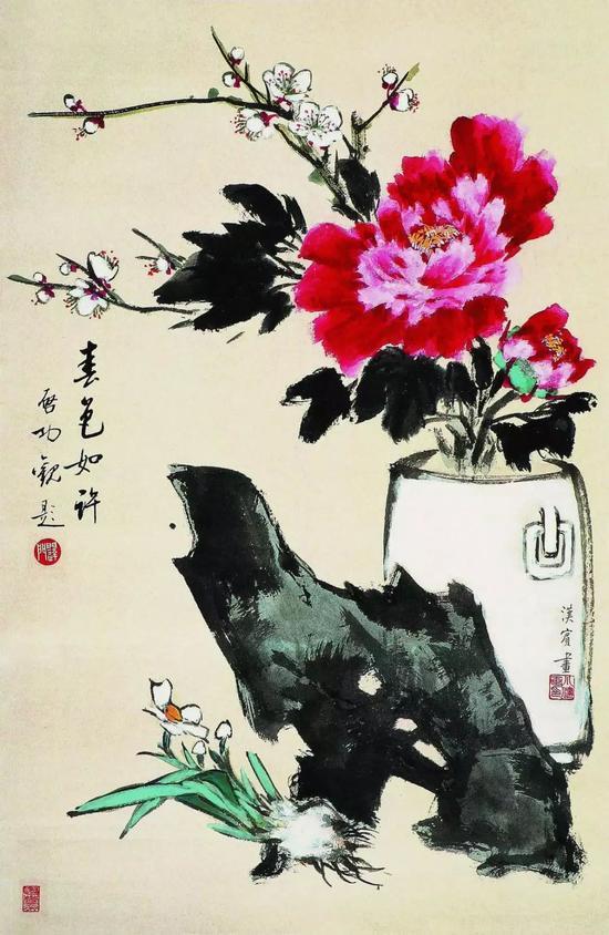 《春色如许》(徐健约19岁作,书法家启功题字 )