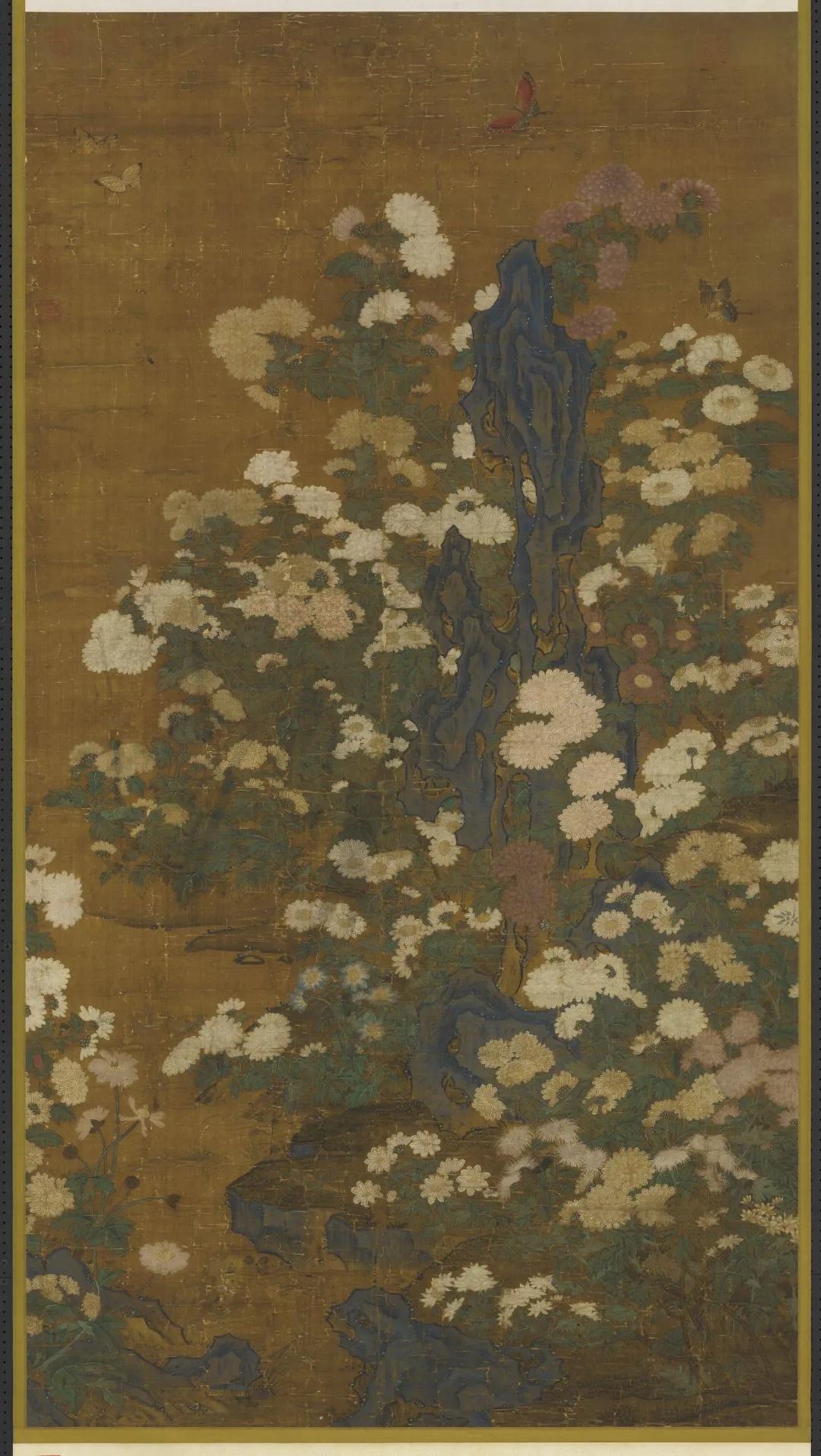 元 佚名 丛菊图 139.8×76.3cm 绢本设色 台北故宫博物院藏