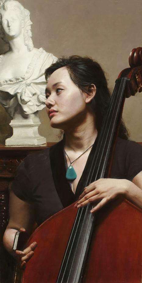 徐芒耀《低音提琴演奏者》 80x40cm 2016年
