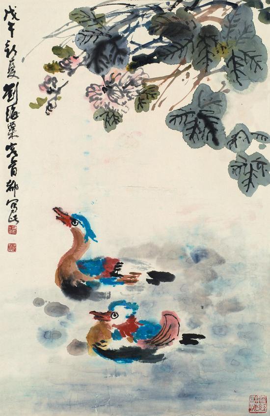 齐白石《荷花鸳鸯》镜框 设色纸本 约3.12平尺