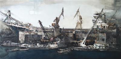《修船厂》 布面油画 罗灵