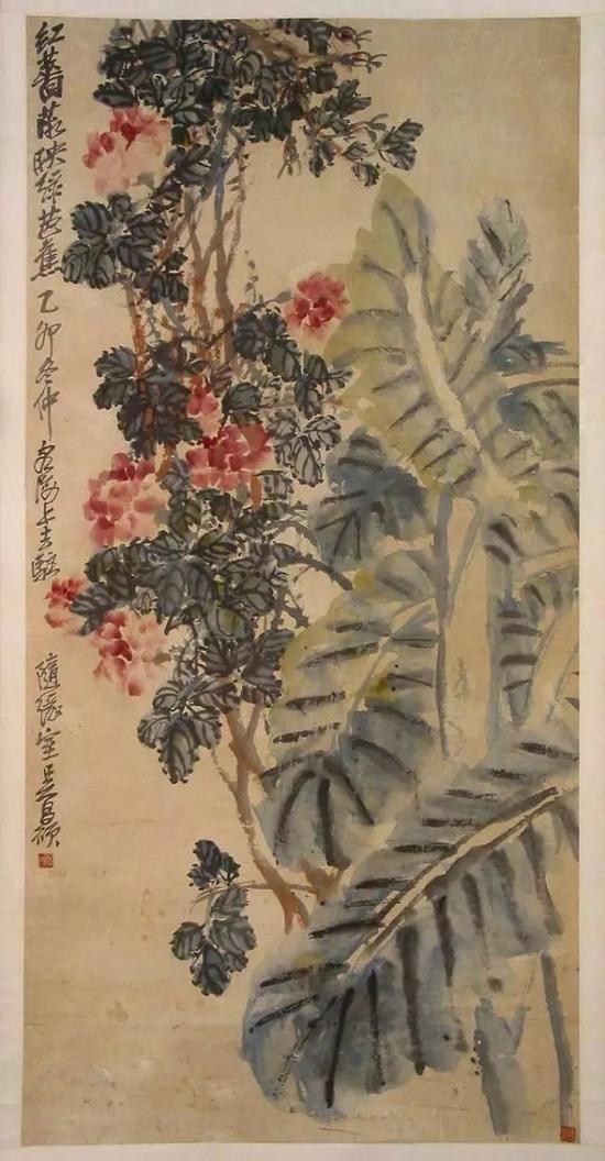 近代 吴昌硕 《蔷薇芭蕉图轴》