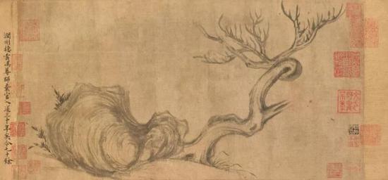 《枯木怪石图》画作局部