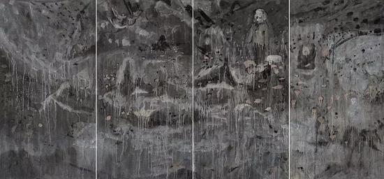 """《""""神""""的纬度》,纸本水墨,180x388cm,2018"""
