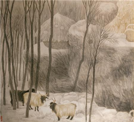 《远离尘嚣》之三 80×80cm绢本设色 1988年