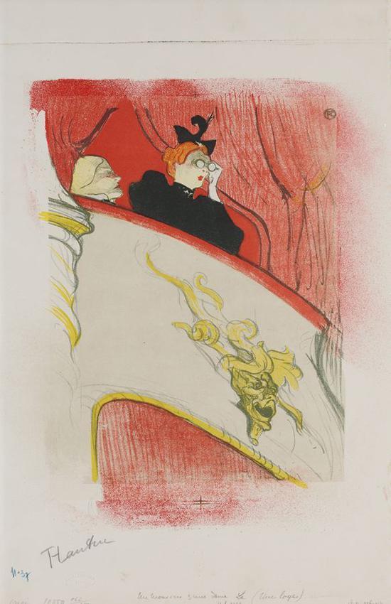 镶有金面具的剧场包厢自由剧场的剧目单 1893年 彩色石版画