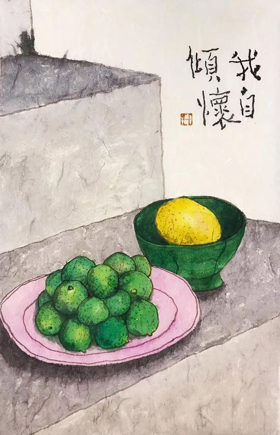 李知弥画作《我自倾怀》