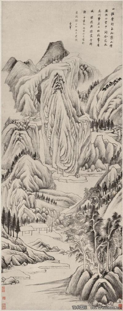 图五董其昌《栖霞寺诗意图》上海博物馆藏