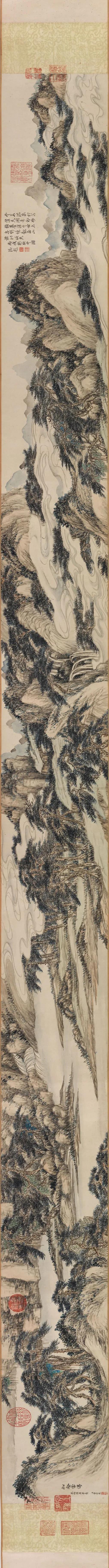 清 董邦达 仿陆广松壑云涛图 卷 纸本18.5x148.5cm美国弗利尔美术馆藏