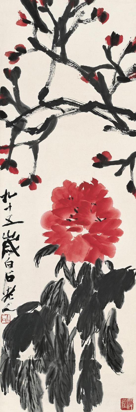 齐白石 《牡丹》103.5×34cm 纸本设色 1955年 北京画院藏