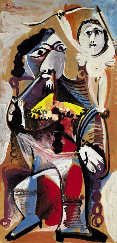 巴布罗·毕加索《坐着抽烟斗的男子与爱神》款识:画家签名Picasso(左上)并纪年17-2-1969(背面)   油彩画布   195.5 x 96.5公分