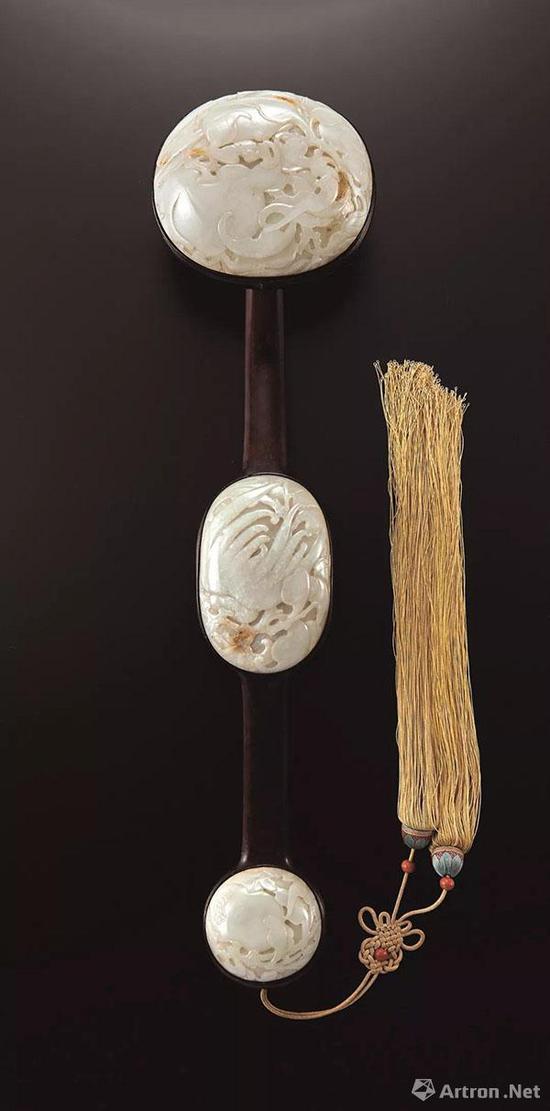 Lot 1922 清中期 紫檀雕福寿三多纹三镶玉如意 L:57cm; H:10cm