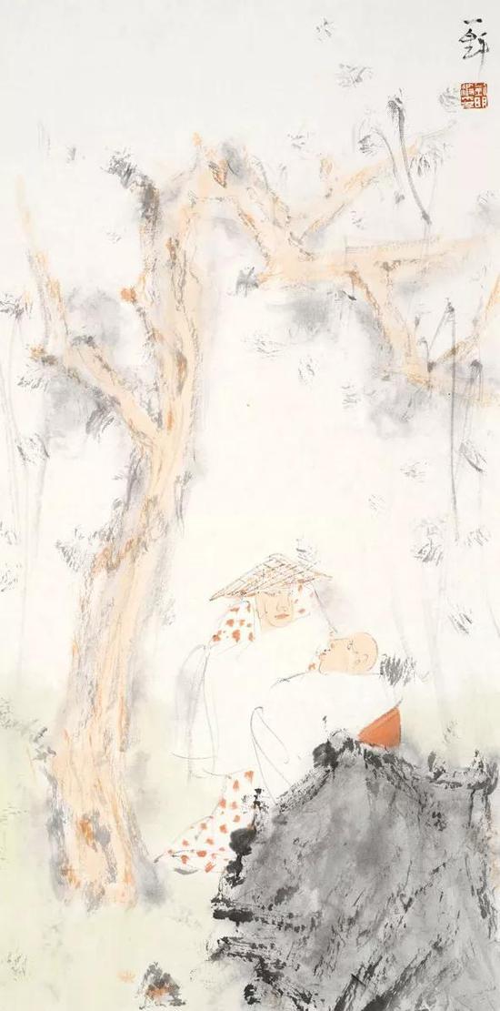 刘明波 人物 69cm×36cm 纸本设色 2018年