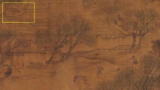 右下角是一支踏青的队伍,左上黄框里是一个菜园子,菜园子里有口井。