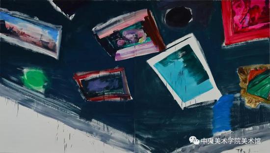 裴咏梅,《双重时间 · 系列一》 布面油画 250x440cm 2015年