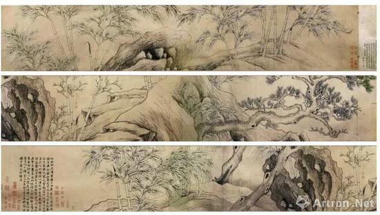 元 张逊 双钩竹石图卷(局部) 纸本水墨双钩 43.4x668cm 北京故宫博物院藏