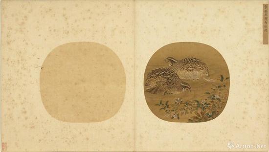 宋 李安忠 野卉秋鹑 册页台北故宫博物院藏