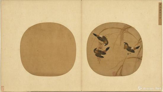黃筌 嘉穗珍禽 25.5x26.5 绢本设色