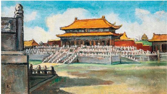 关良 故宫 20世纪50年代作 油画 西泠2018秋拍 成交价:264.5万元