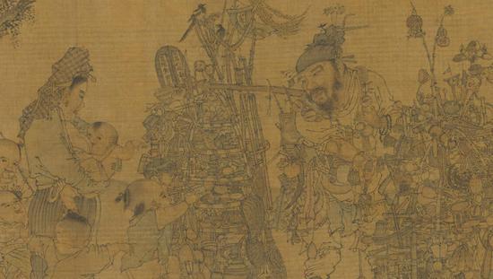 集古名绘 册 宋 李嵩《市担婴戏》(局部) 台北故宫博物院藏