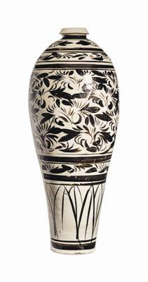金磁州窑白地黑花花卉纹梅瓶,估价6000—8000美元