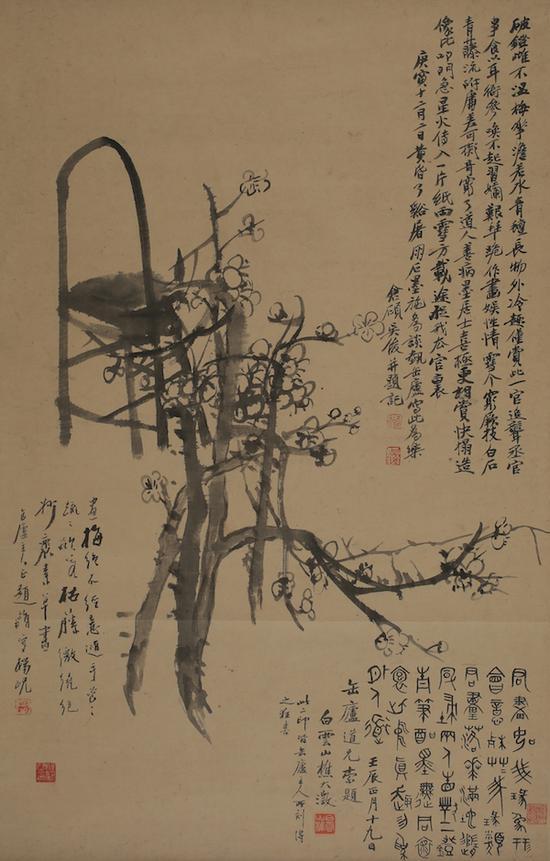 吴昌硕 灯梅图轴1891年私人收藏