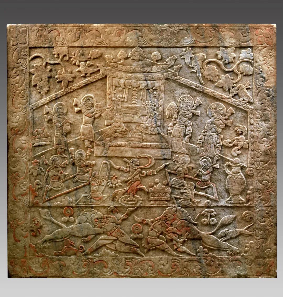 ▲太原隋代虞弘墓石椁正壁图像