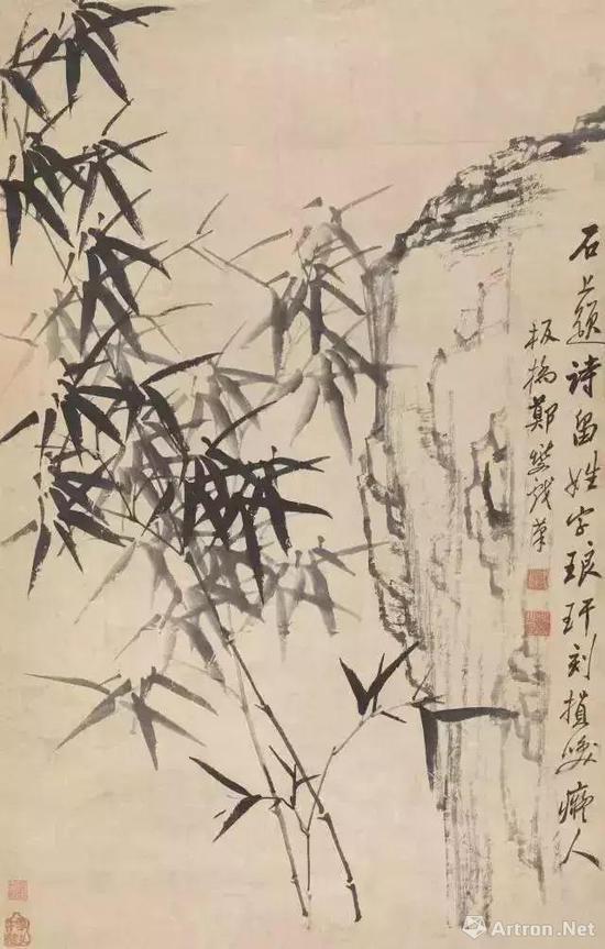 清 郑夑 石畔琅玕图 邓拓旧藏 现藏中国美术馆