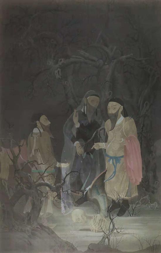 郝量《猎人与地狱变》重彩、绢本