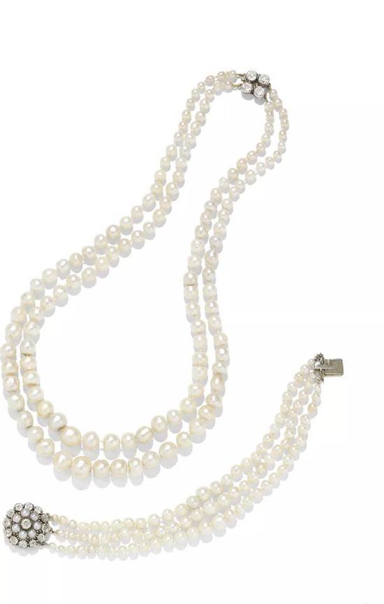 20世纪早期天然珍珠配钻石项链及手链