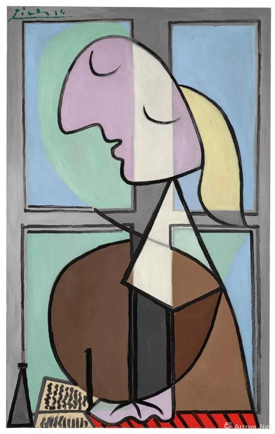 巴布罗·毕加索《女子侧面半身像(书写的女子)》116.3 x 73.5cm 1932年作