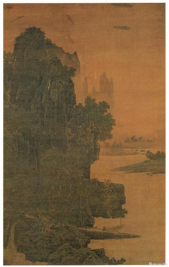 宋萧照山腰楼观图轴绢本水墨 179.3x112.7cm,现藏于台北故宫博物院