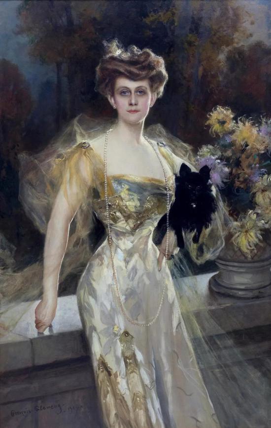 弗朗索瓦。弗拉孟  梅尼耶夫人肖像 布面油彩162.6x105.4cm 1907年