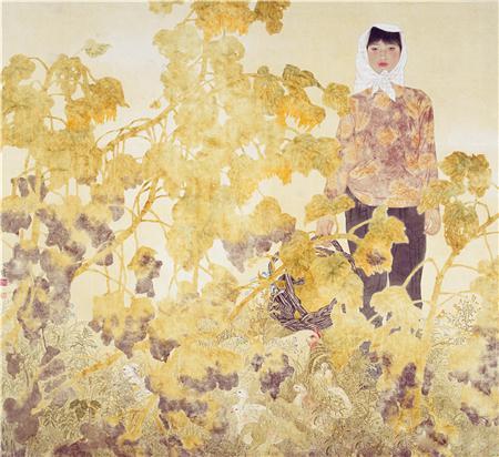 《骄阳》138×138cm 绢本设色 1995年