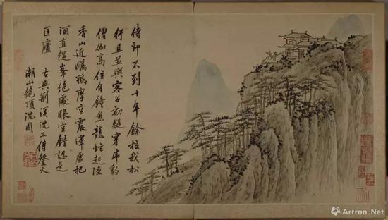 沈周《苏台纪胜十六页书画册》(局部)1484-1504年。