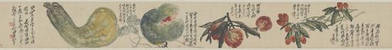 吴昌硕 《珍果图卷》,依次绘制荔枝、大桃、西瓜、倭瓜。